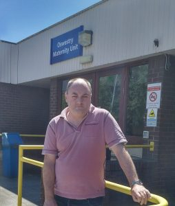 David Walker outside Oswestry Maternity Unit which has been beset by temporary closures due to staff shortages