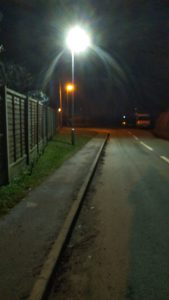 West Felton LED street light with Sodium light in the back ground. LED are brighter and better for environment