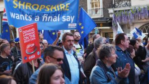 The former Lib Dem MP for Ludlow, Matthew Green was marching with Shropshire residents to demand a final say
