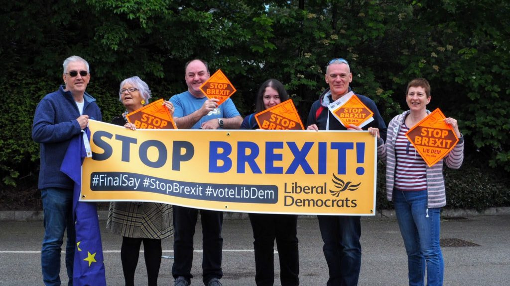 Lib Dems waiting for Volunteers to arrive on Sunday for the 2nd Action Day. To Stop Brexit vote Libdems on May 23rd