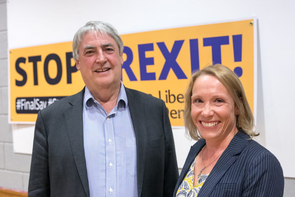 Phil Bennion MEP and Helen Morgan at a recent talk to members in Market Drayton
