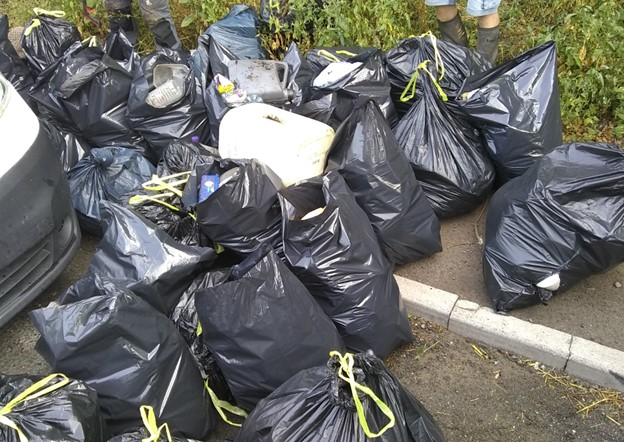 Just some of the rubbish collected by Nick Saxby and the volunteers by Whitchurch bypass